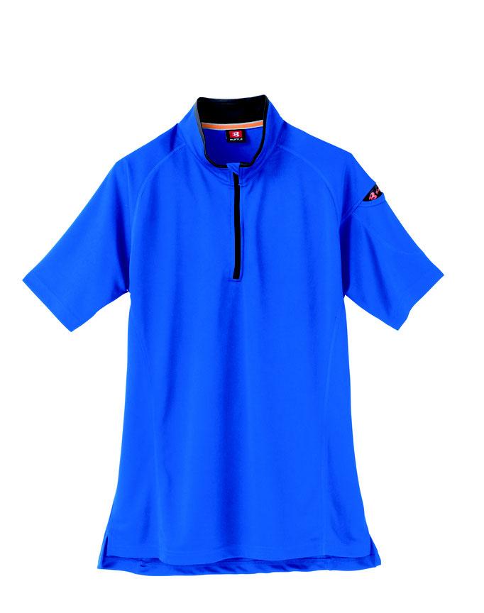 BURTLE(バートル)415 半袖ジップシャツ  47  サーフブルー