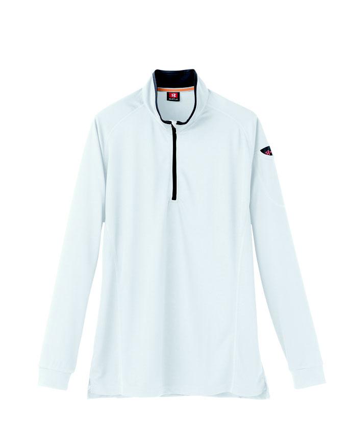 BURTLE(バートル)413 ジップシャツ  29  ホワイト