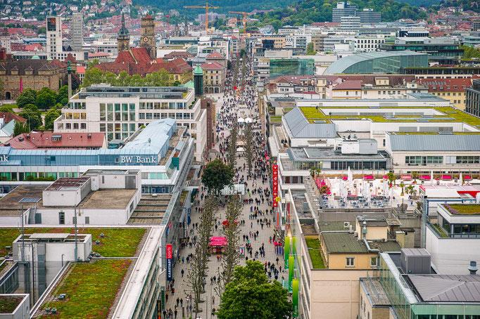 Blick vom Stuttgarter Bahnhofsturm auf die Innenstadt