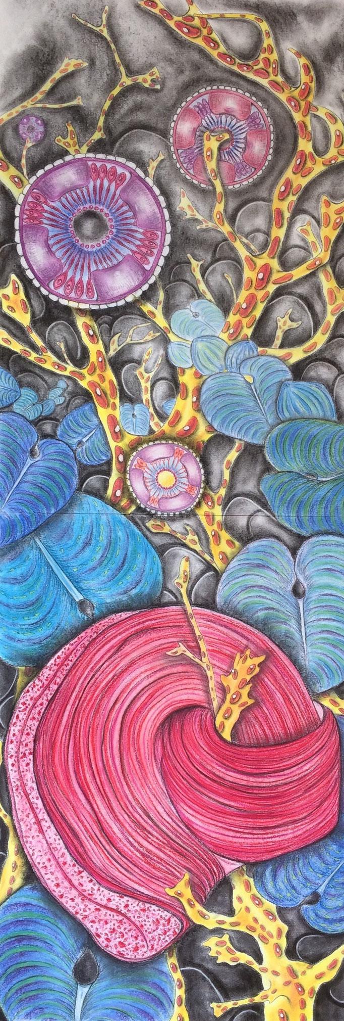 Watergeheimen IV, 2020 | 140x50cm | Pastel, houtskool, Siberisch krijt op papier