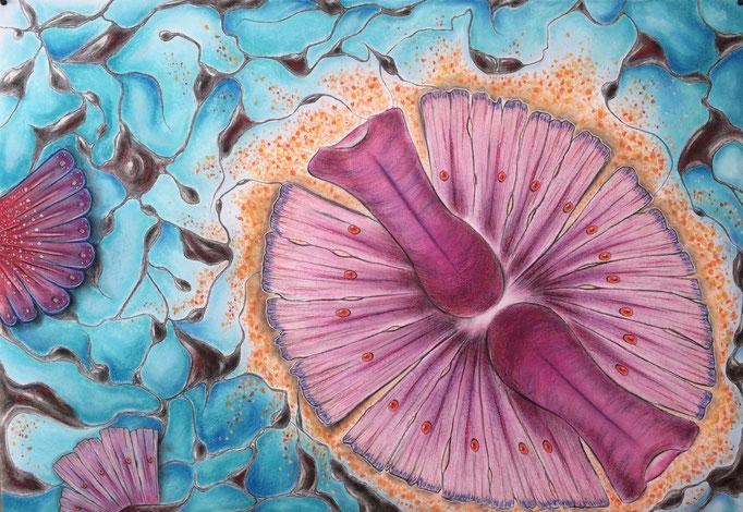 Watergeheimen I, 2020 | 70x100cm | Pastel, houtskool, conté, Siberisch krijt op papier