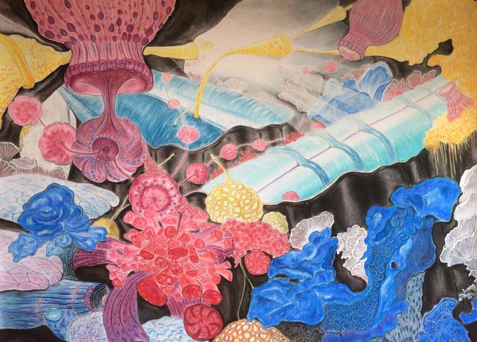 Mijn diespte zee, 2019 | 150x204cm | Pastel, Siberisch krijt, houtskool, conté op papier
