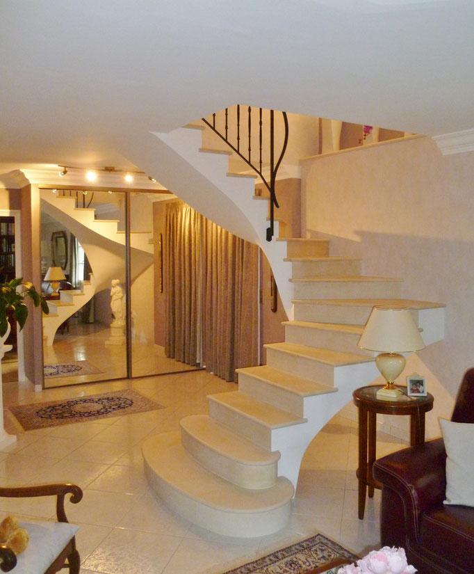 Rénovation escalier deux quart tournant combe brune