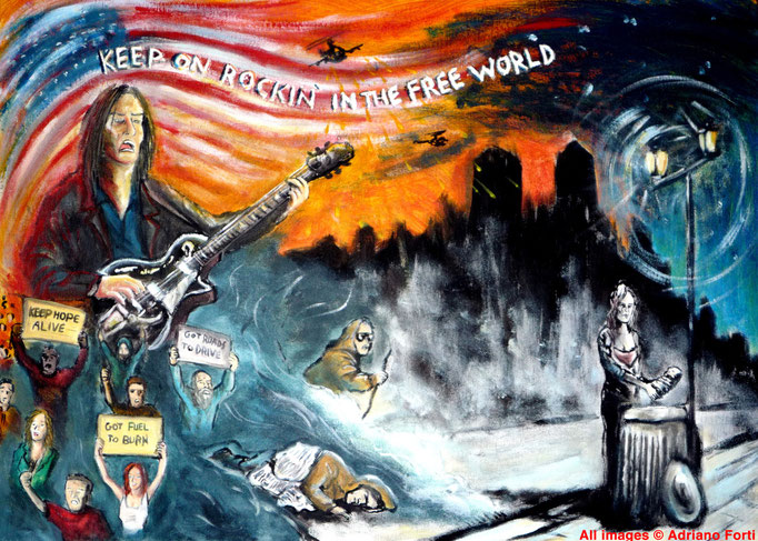Rockin' in the free world - Acrilico su cartone telato