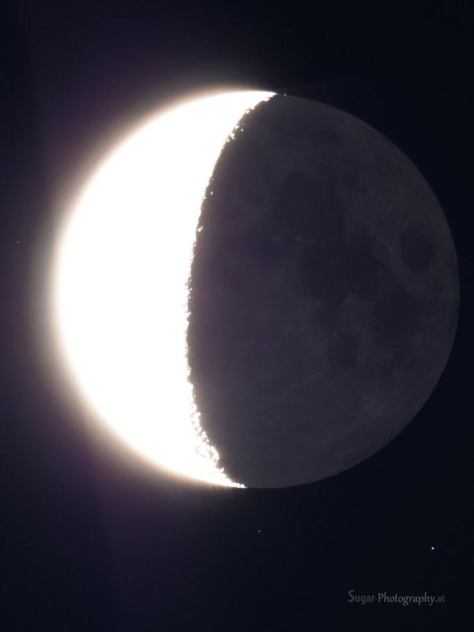 Halbmond mit überbelichteter Sichel Juli 2013