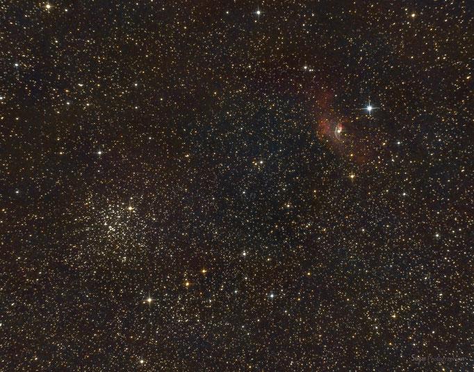 Blasennebel (NGC765) und Kugelsternhaufen M52 im Sternbild Kassiopeija.Entfernung 5000 Lichtjahre. Aufgenommen am 8.9.2014 (Vollmond,..)