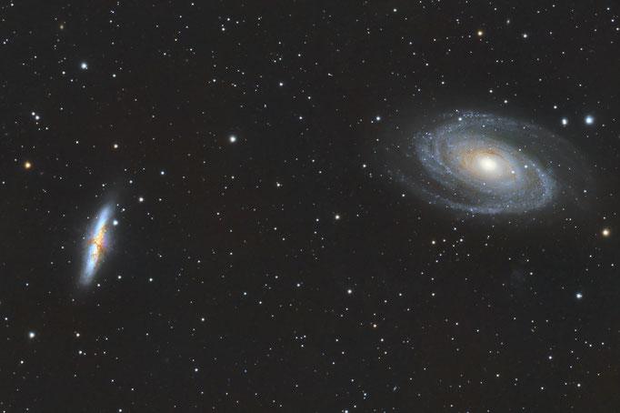 Bodes & Zigarrengalaxie (M81 & M82) im Sternbild Großer Bär. Entfernung ca 11.9.Millionen Lichtjahre. Aufgenommen am 20.2.2015