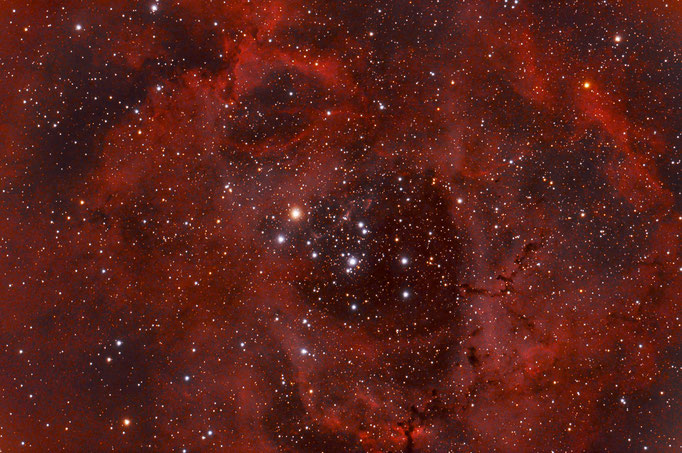 Rosettennebel (NGC 2246)  D iffuser Emissionsnebel im Sternbild EInhorn.  Etnfernung 5200 Lichtjahre. Aufg. am 23.3.2015