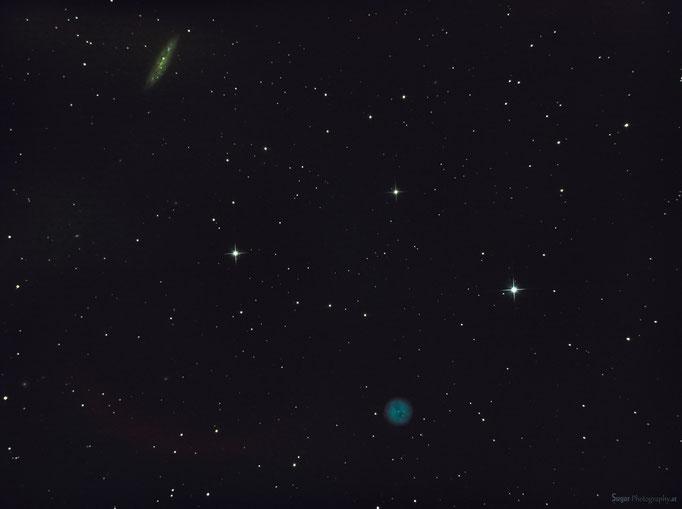 Eulennebel (M978) & Spiralgalaxie (M108) im Sternbild Großer Bär.  Entfernung ca. zw. 400 u. 12.000 Lj Aufgenommen am 13.3.2013