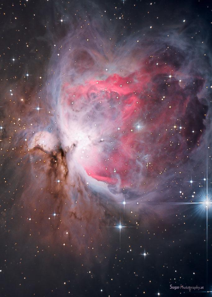 Neubearbeitung Orionnebel (M42) im Sternbild Orion. Entfernung ca.1250 Lichtjahre. Aufgenommen am 7.11.2013