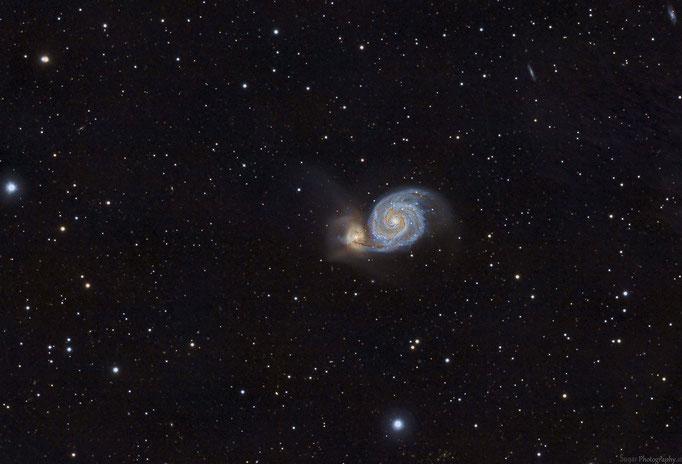 Whirlpoolgalxie (M51) im Sternbild Jagdhunde. Entfernung cirka 27 M.Lichtjahre. Aufgenommen am 20.3.2015
