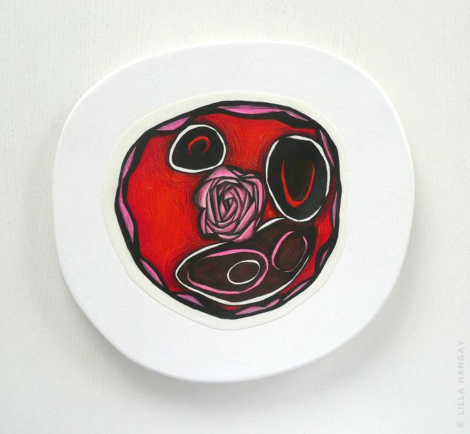 "© Lilla Hangay, DETOUR 9, 2010, graphite, colored pencil on vellum mounted on wood panel, ca 12"" diameter"