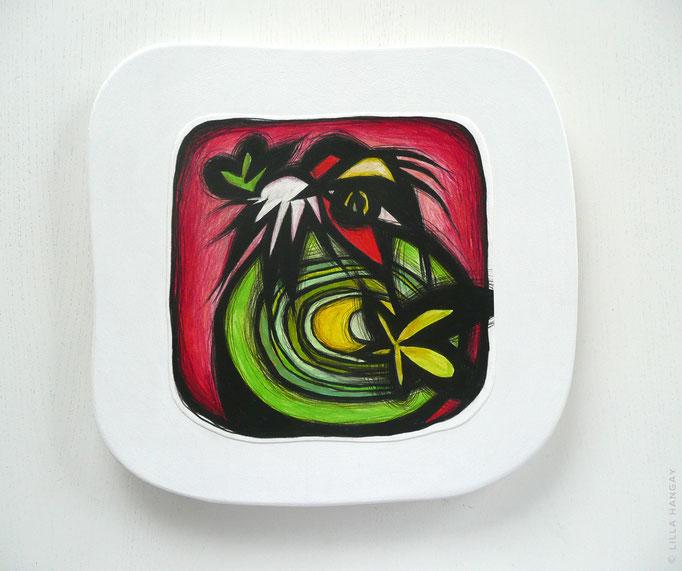 "© Lilla Hangay, SANTA FE 8, 2010, graphite, colored pencil on vellum mounted on wood panel, ca 11 x 11"""