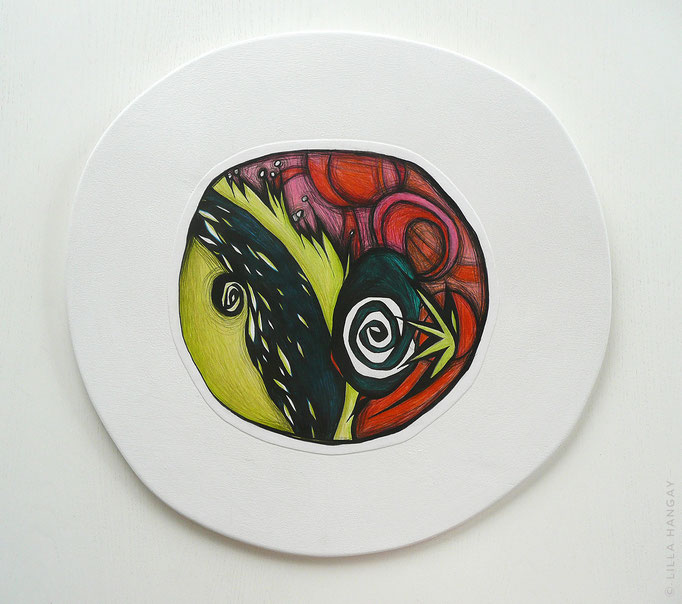 "© Lilla Hangay, DETOUR 7, 2010, graphite, colored pencil on vellum mounted on wood panel, ca 15"" diameter"