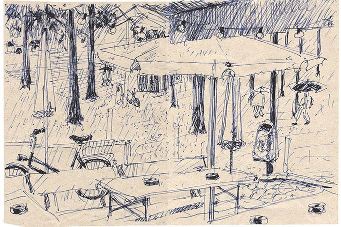 """""""Sommer in Hamburg"""", Zeichnung/Tinte"""
