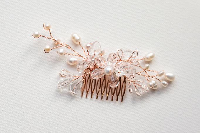 Haarkamm 14K Rosegold mit Glassteinen und Süßwasserperlen