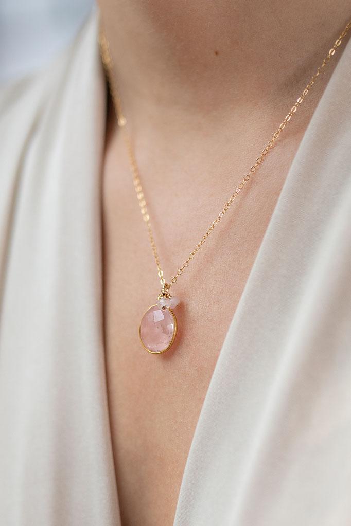 Halskette 14K Gold Filled mit Rosenquarz Anhänger