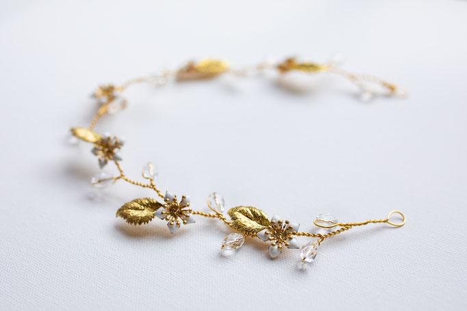 Brautgürtel oder Haarband 14K Gold Filled Blätter, Glassteinen