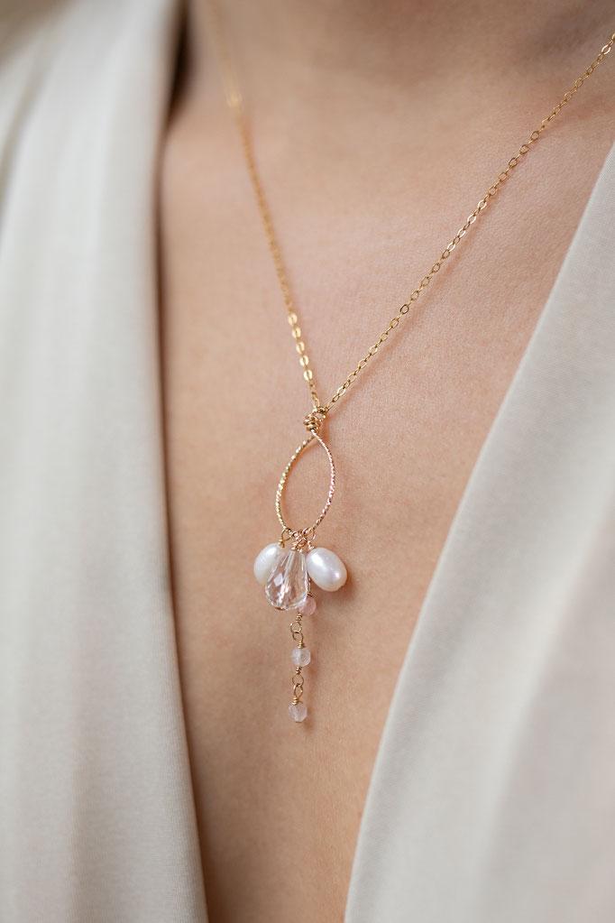 Halskette 14K Gold Filled mit Süßwasserperlen und Glasperlen