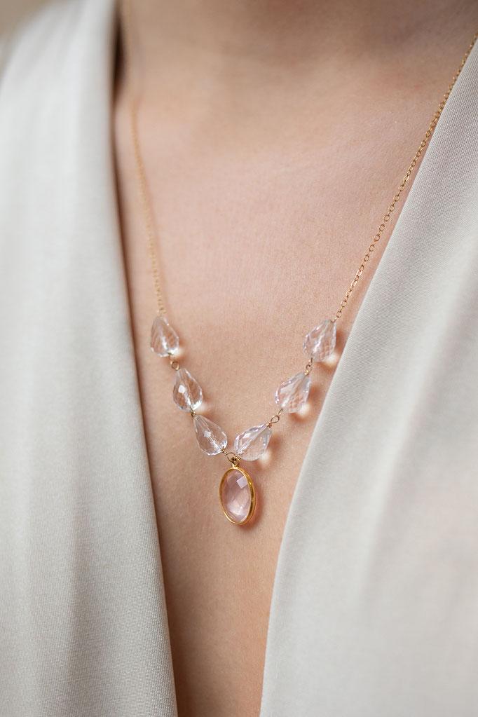 Halskette 14K Gold Fillde mit Mondstein und Glasperlen