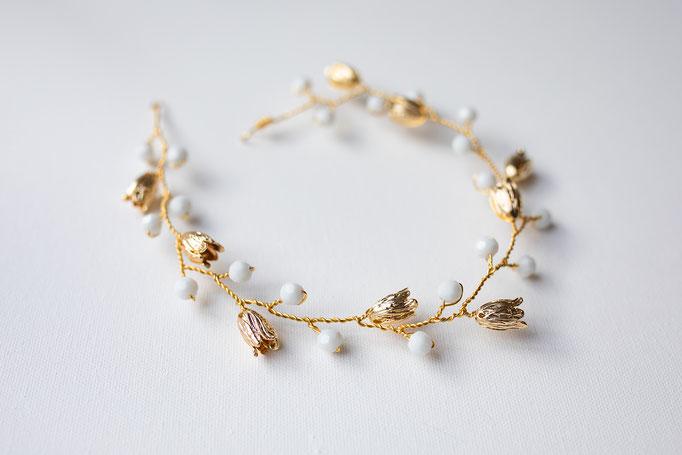 Brautgürtel oder Haarband 14K Gold Filled Blüten und Perlen