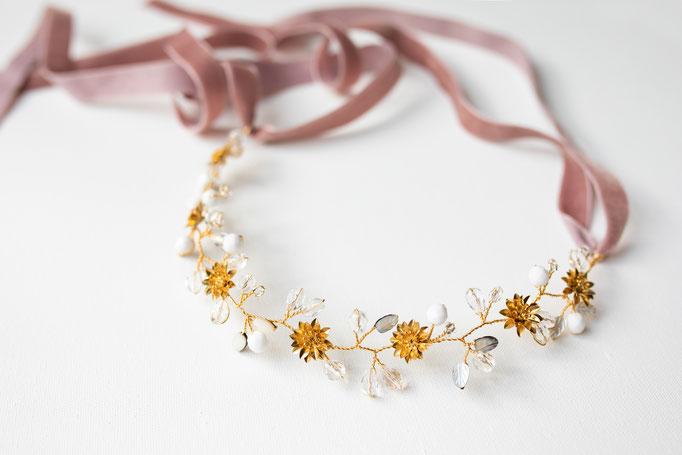 Haarband, Brautgürtel 14K Gold Filled mit Glassteinen und Blüten
