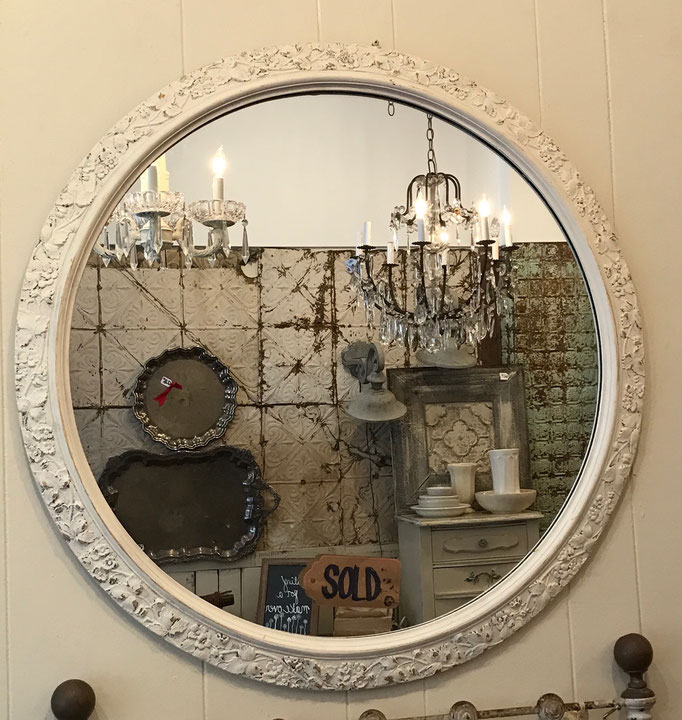 tall painted antique vintage mirror floral custom oval bedroom bathroom hallway hall etched victorian framed white cream neutral big small frameless old chester new jersey NJ andover califon shop small business local
