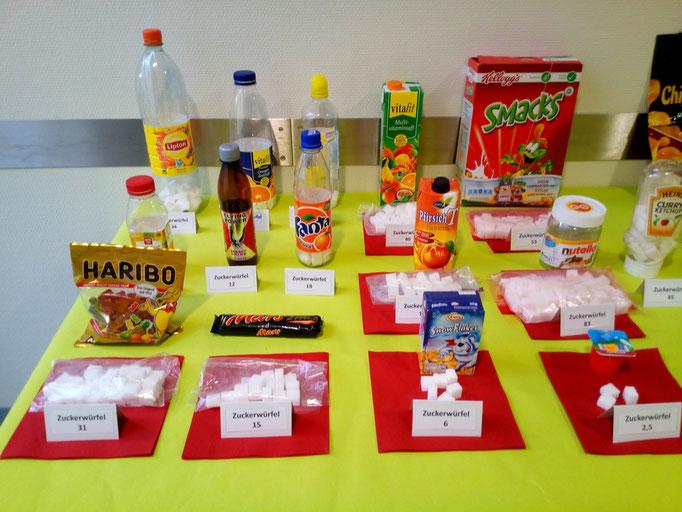 Zuckergehalt in verschiedenen Lebensmitteln