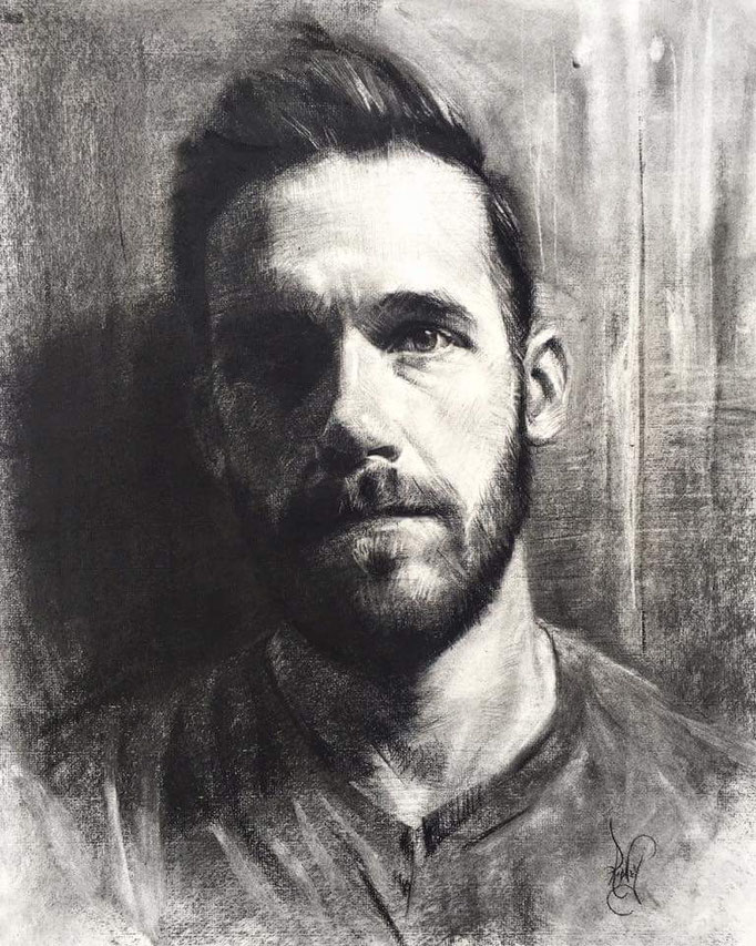 """Self Portrait"" Charcoal on Paper 18 x24 inches"