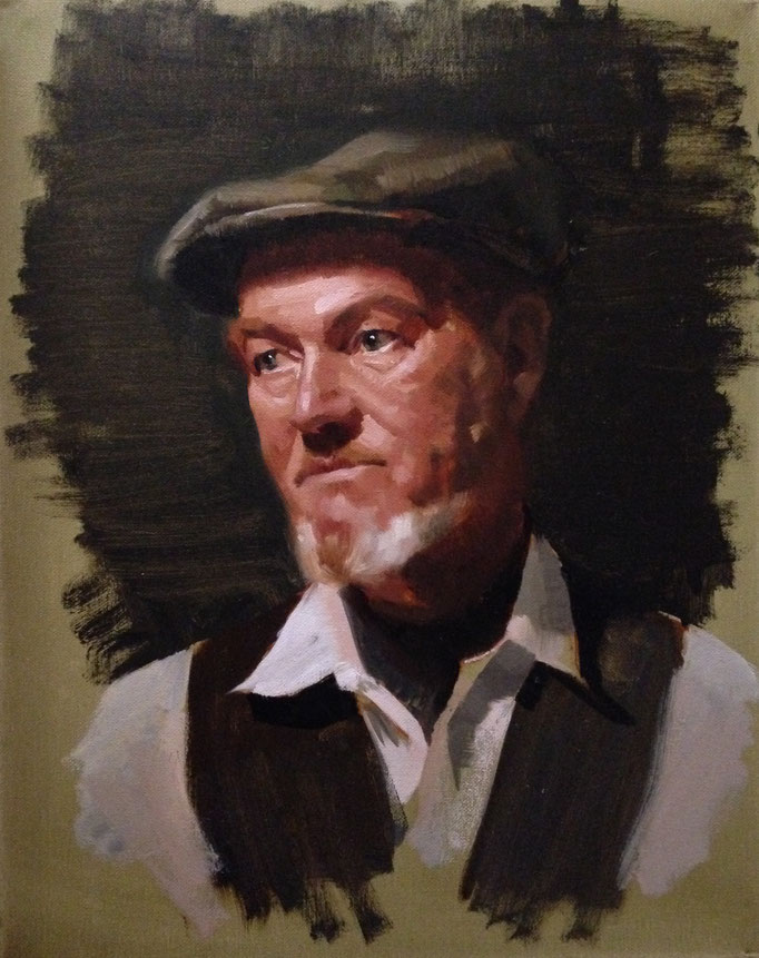 """Man With A Hat"" Oil on Canvas 12x16 inches"