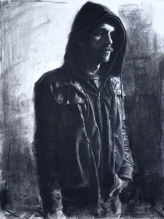 """""""Chrysalis""""  Charcoal on paper  18x24 inches"""