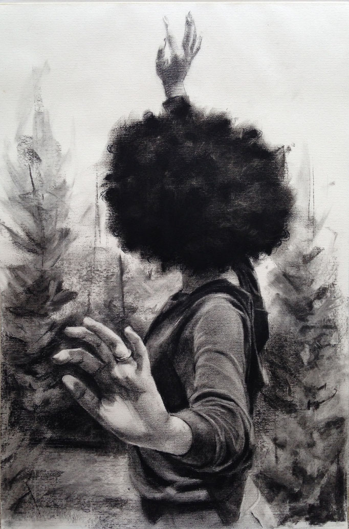 """Exuviation""  Charcoal on paper  12x18 inches"