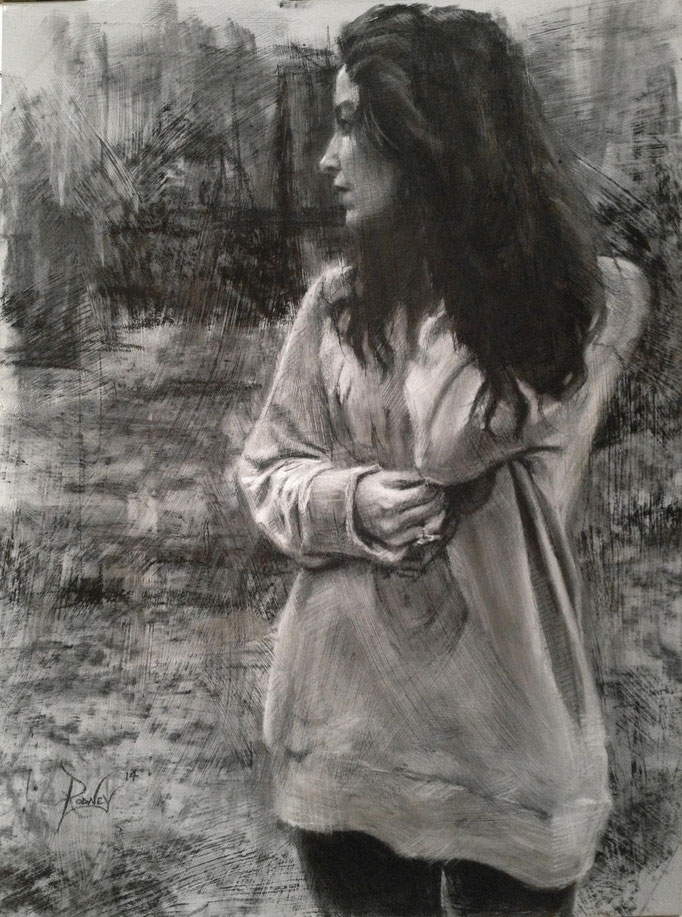 """Matriarch"" Charcoal on gessoed illustration board  15x20 inches"