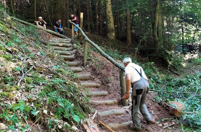 Nouvel escalier (sentier des Chasseurs)