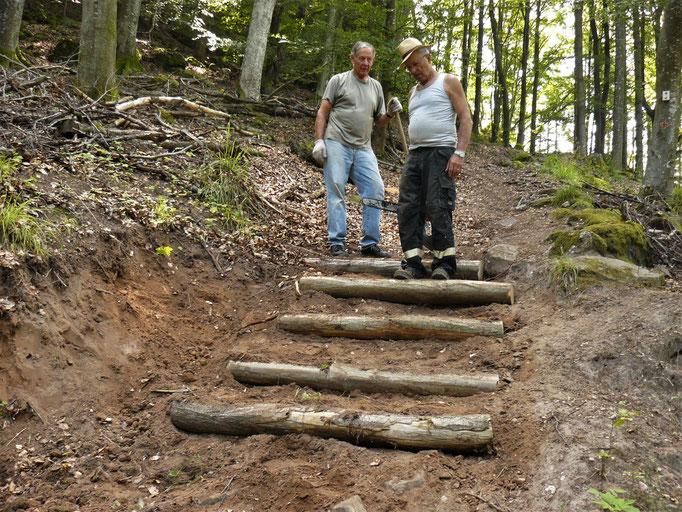 nouvel escalier , montée du Hagelschloss