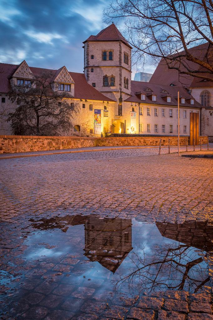Die Moritzburg spiegelt sich auf einer Pfütze