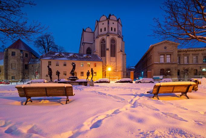 Domplatz und Dom zu Halle im Winter