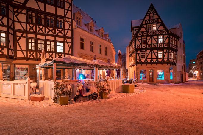 Fachwerkhäuser im Graseweg im Winter