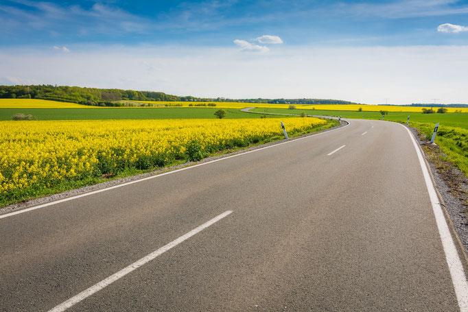 Landstraße im Burgenlandkreis
