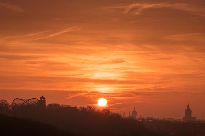 Bergzoo, Wasserturm Nord und Pauluskirche im Sonnenaufgang