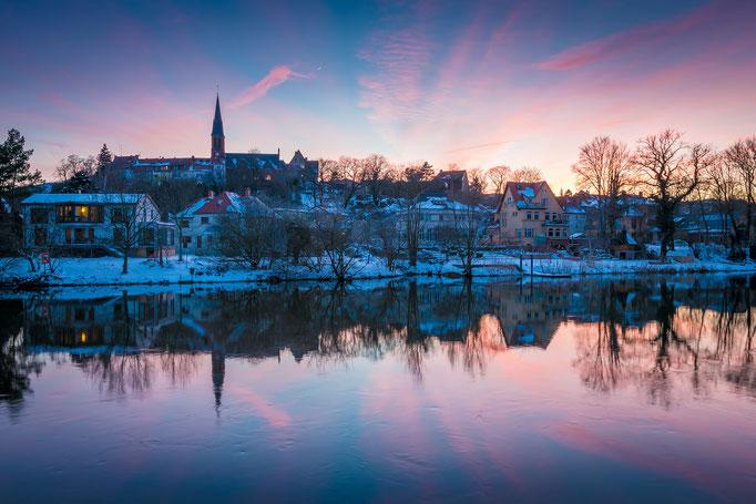 Winterabend in Kröllwitz mit Mondsichel