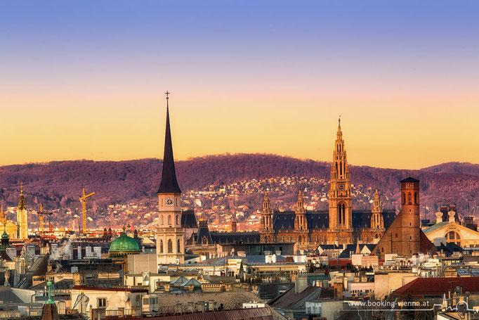 Sonnenuntergang in Wien, booking Vienna, günstige Hotels in Wien, Hotel Vienna buchen