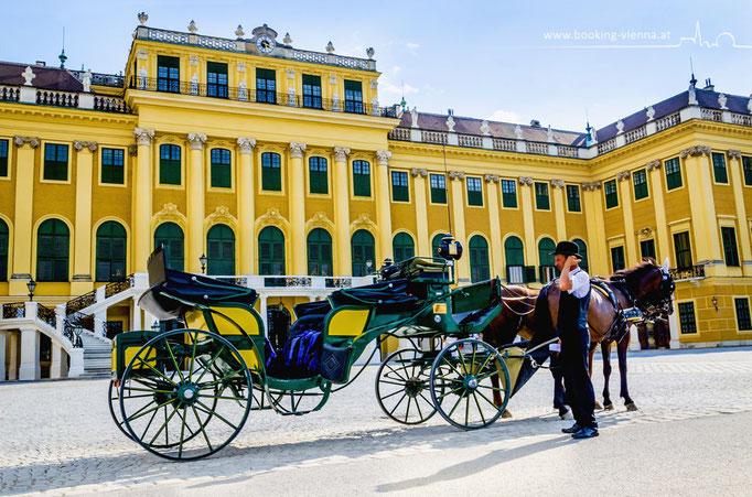 Schloss Schönbrunn und die Fiaker, booking Vienna, günstige Hotels in Wien, Hotel Vienna buchen