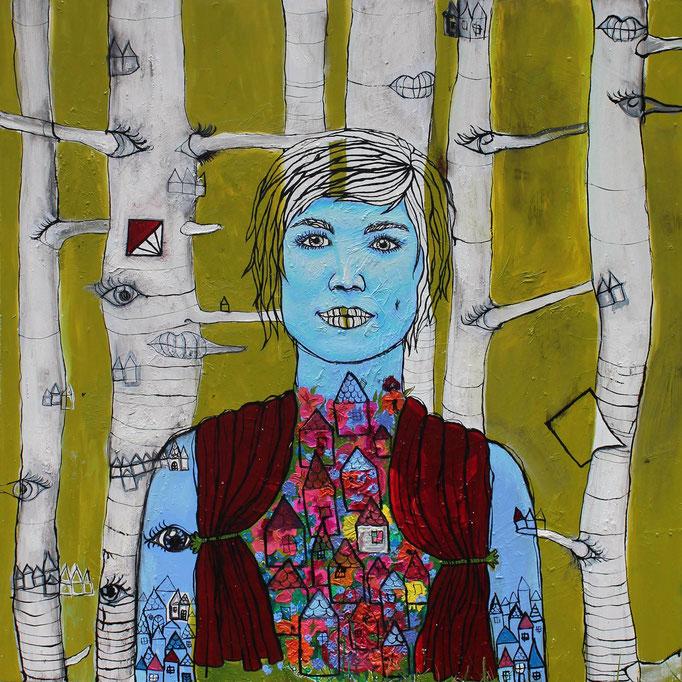 MONAS LEBENSBÜHNE | 2017 | Stubenberg | Öl, Acryl & Vinyl auf Holz | 100 x 100 cm