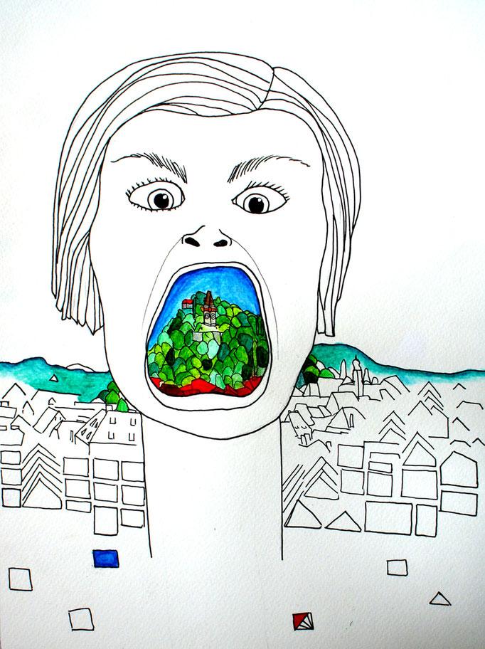 MONA IN GRAZ. 2012 | Tusche & Aquarell auf Papier | 40 x 25 cm