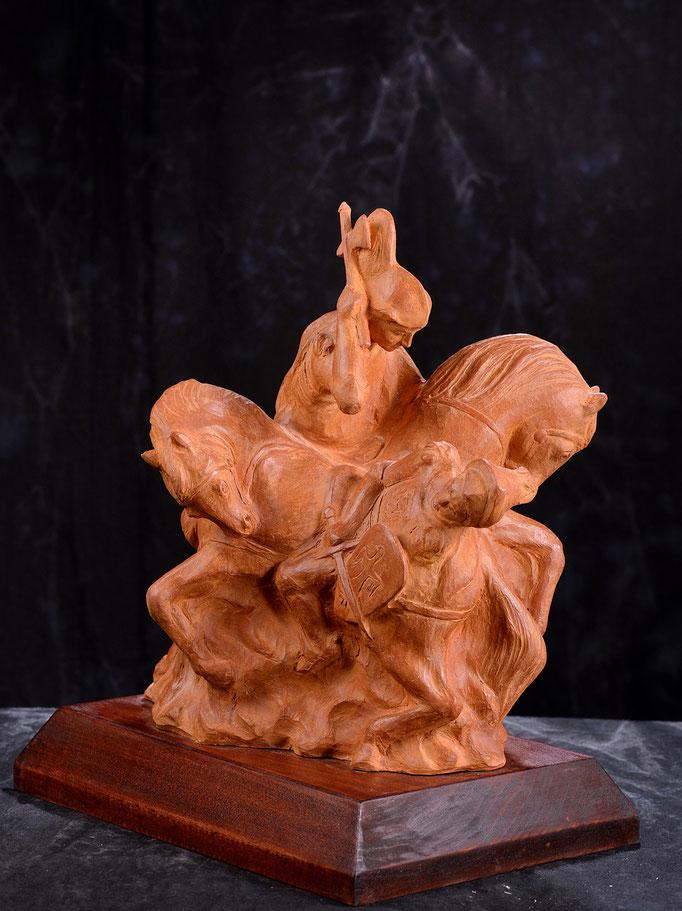 """""""Cavalieri"""" rievocazione disfida di Barletta. Terracotta patinata"""