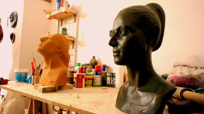 Particolare di un ritratto di donna (fase di preparazione dell'opera)