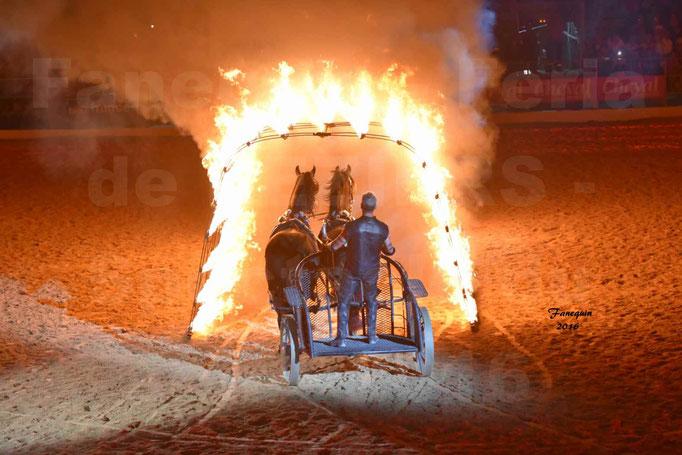 Féria de Béziers 2016 - Spectacle du soir - Attelage en paire sous un tunnel de feu