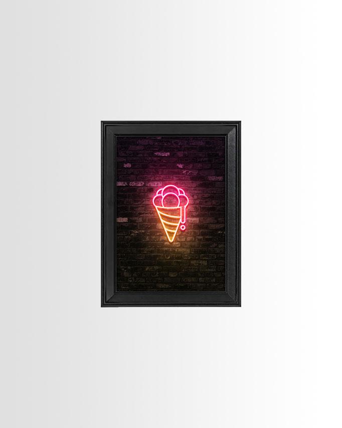 Neon Bollenhut-Eis Print