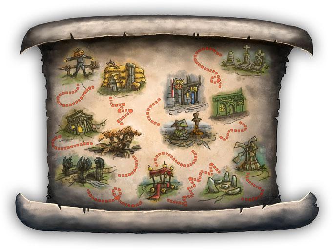 """Erstellung der Illustrationen für die Travel-Map für das Point-and-Click-Adventure """"Heaven's Hope""""; © Mosaic Mask Studios"""